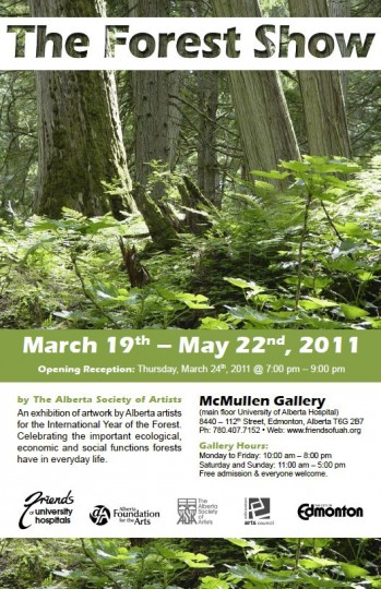 Poster for The Forest Show art exhibition in Edmonton