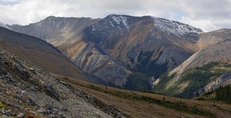 Colour and sun patches on mountain ridge